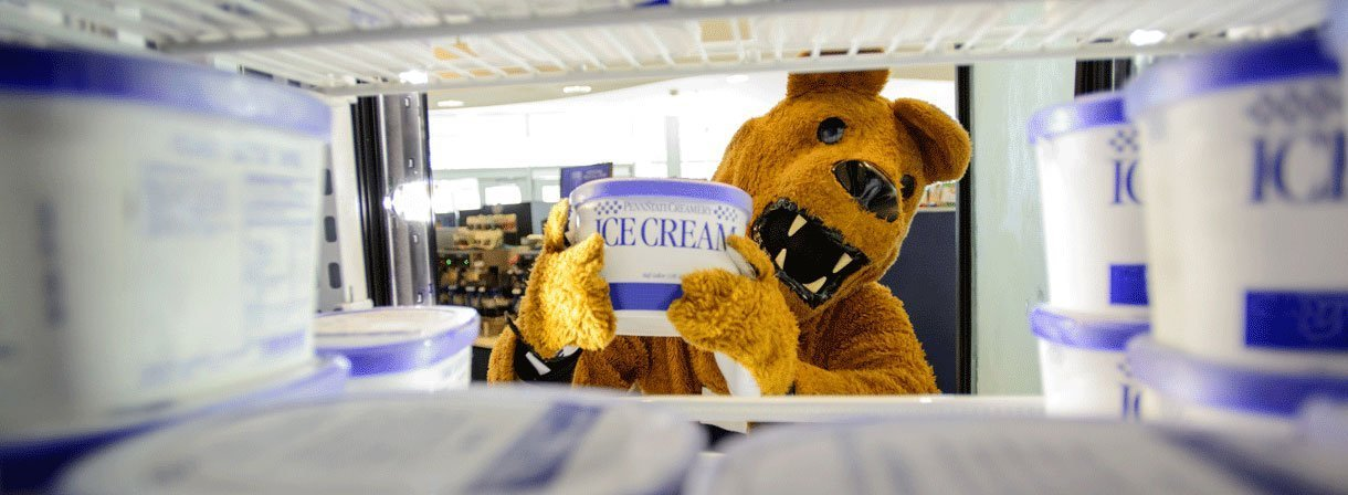 Nittany Lion buying ice cream