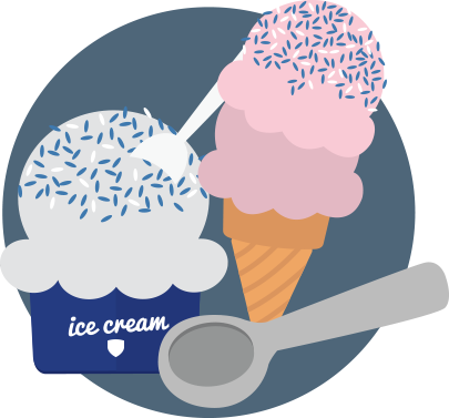 Ice cream bowl and cone illustration