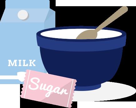 Ice cream ingredients illustration