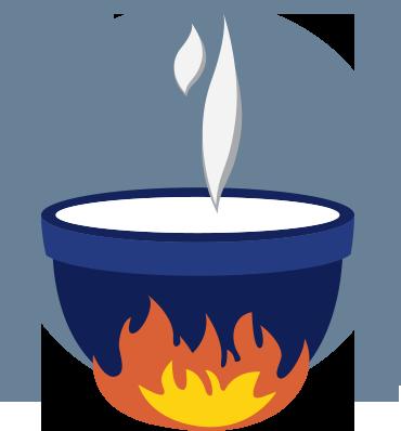 Heating a vat of milk illustration