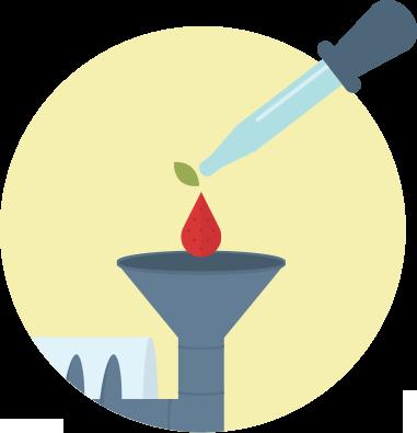 Eyedropper adding ingredients illustration